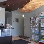 reception area with display of dry and wet pet food