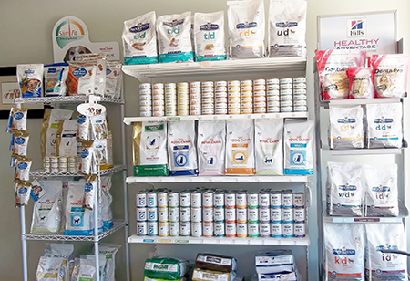shelves of dry and wet pet food